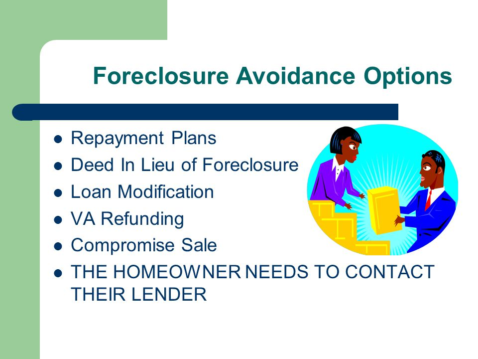 Foreclosure Avoidance Options