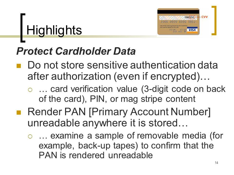 Highlights Protect Cardholder Data
