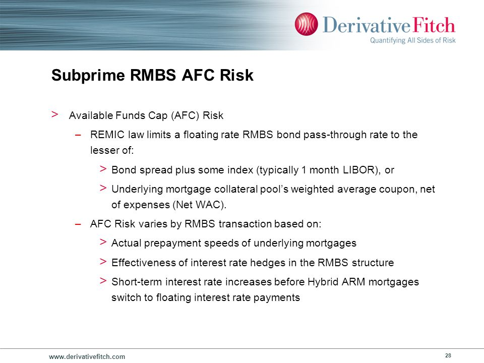 Subprime RMBS AFC Risk Unrecovered AFC Interest Shortfalls can be prevalent by vintage.