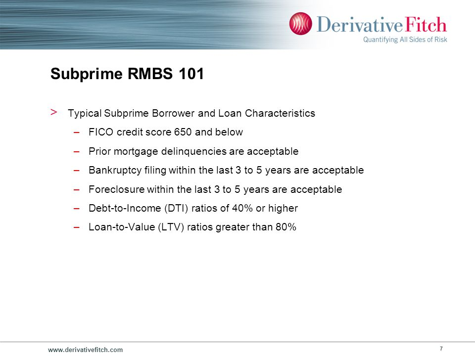 Subprime RMBS 101 Typical Subprime Loan Types