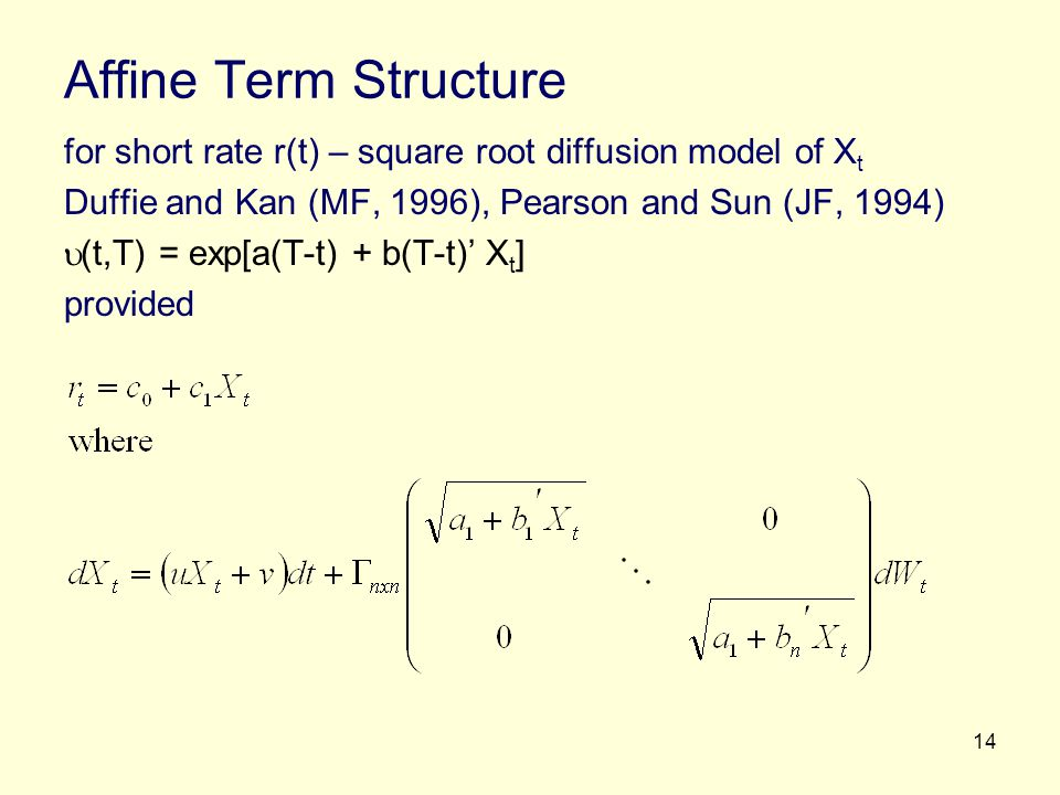 Affine Term Structure for short rate r(t) – square root diffusion model of Xt. Duffie and Kan (MF, 1996), Pearson and Sun (JF, 1994)