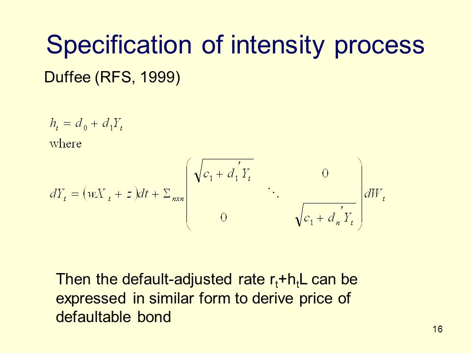 Specification of intensity process