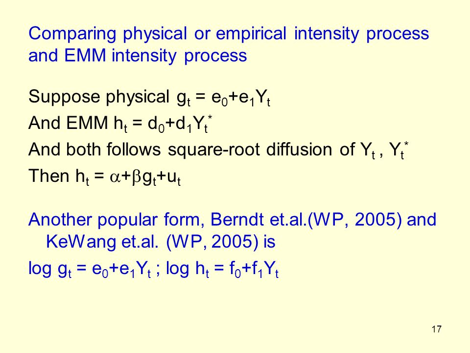Comparing physical or empirical intensity process and EMM intensity process