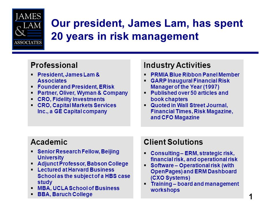 We are singularly focused on risk management