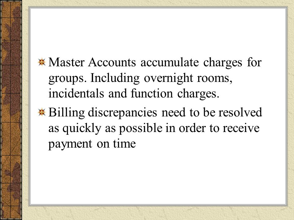 Master Accounts accumulate charges for groups