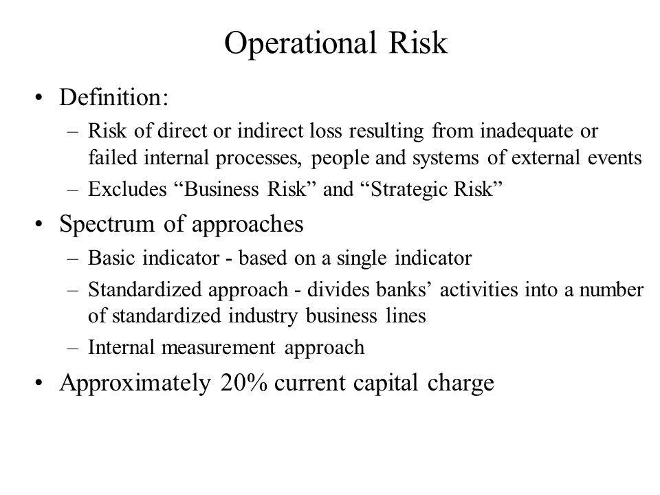 Operational Risk Definition: Spectrum of approaches