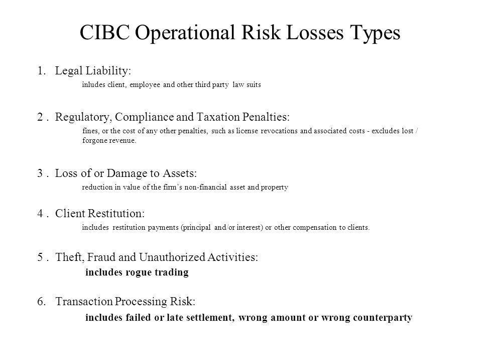 CIBC Operational Risk Losses Types