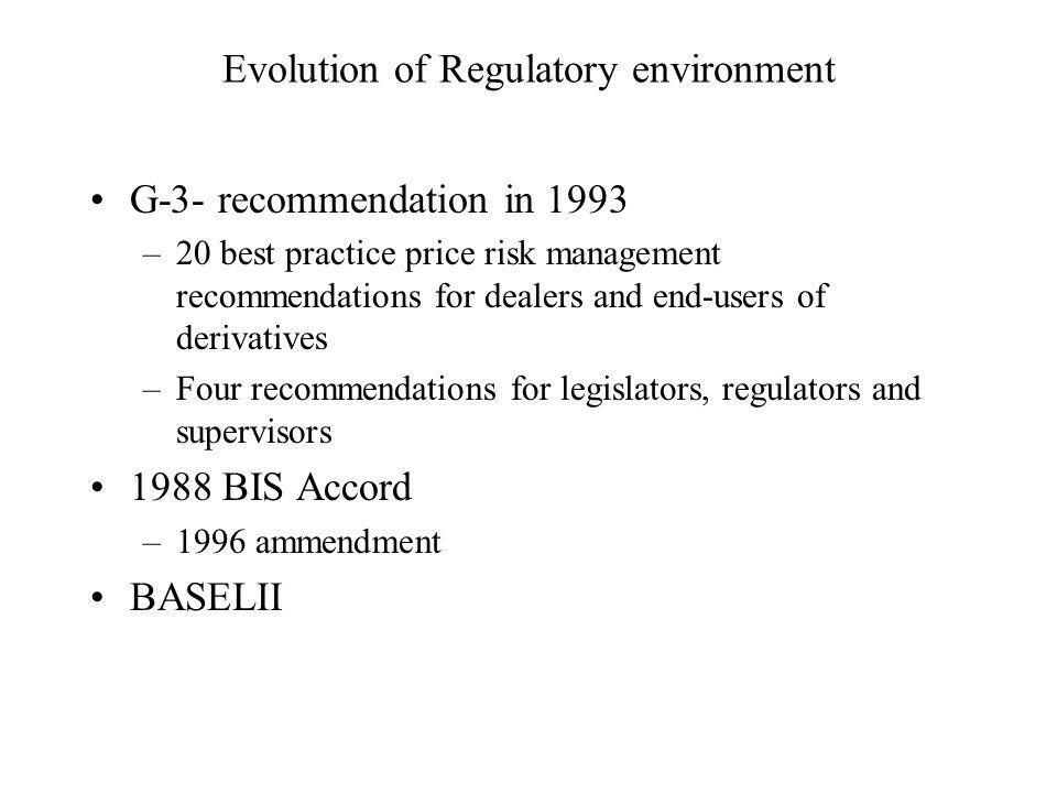 Evolution of Regulatory environment