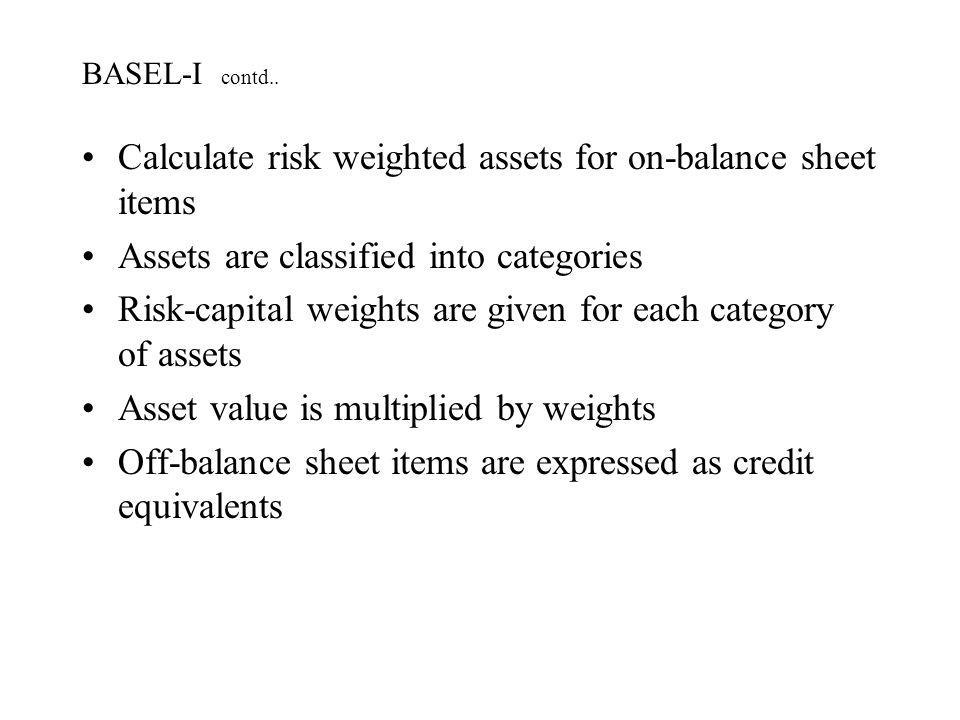 Calculate risk weighted assets for on-balance sheet items