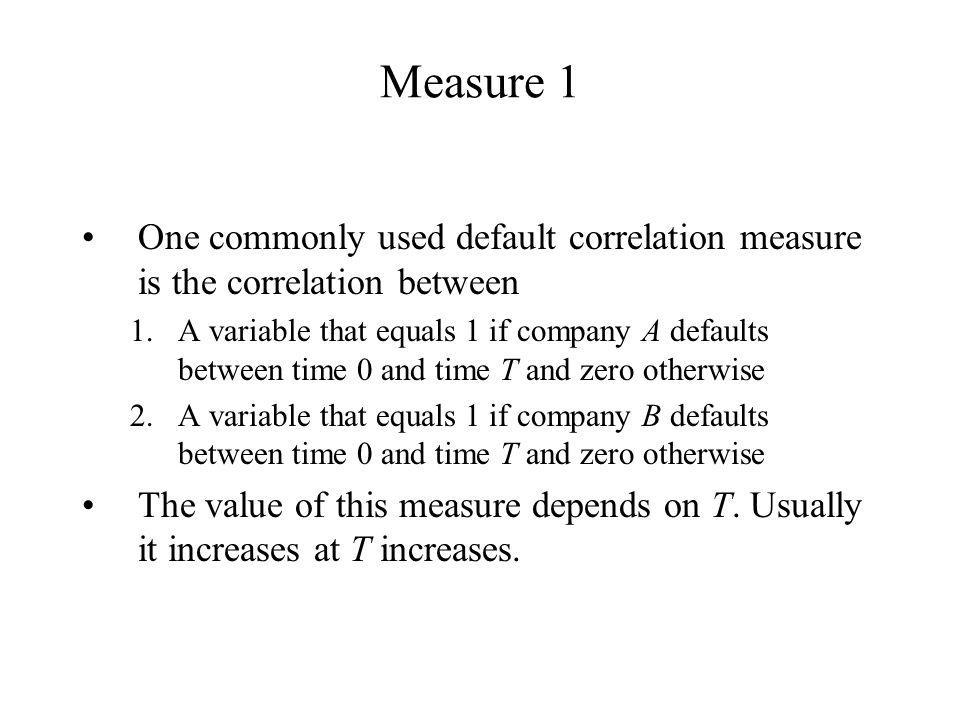 Measure 1 One commonly used default correlation measure is the correlation between.