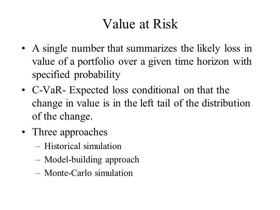 Value at Risk A single number that summarizes the likely loss in value of a portfolio over a given time horizon with specified probability.