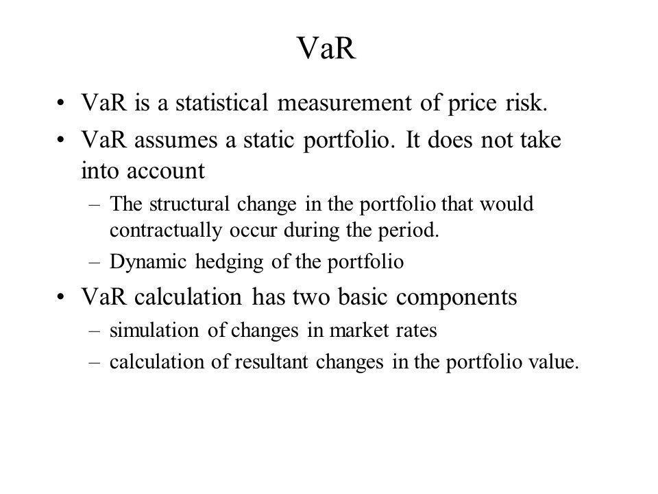 VaR VaR is a statistical measurement of price risk.