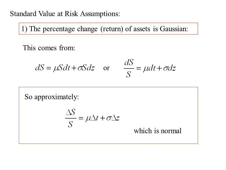 Standard Value at Risk Assumptions: