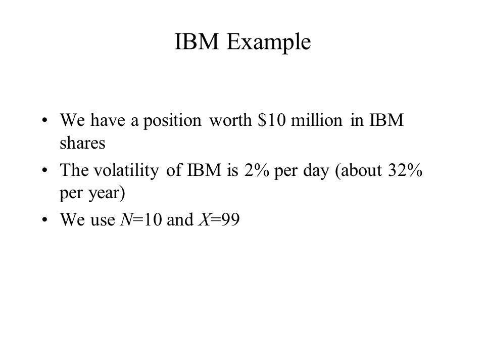 IBM Example We have a position worth $10 million in IBM shares