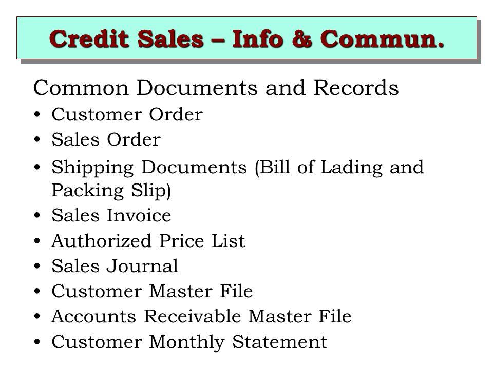 Credit Sales – Info & Commun.