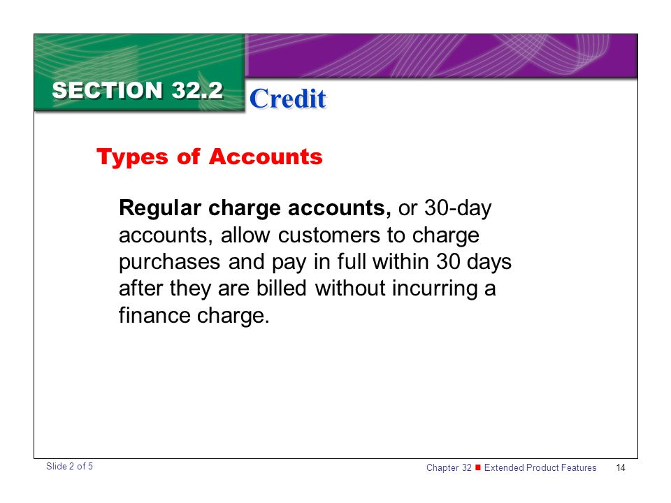 Credit SECTION 32.2 Types of Accounts