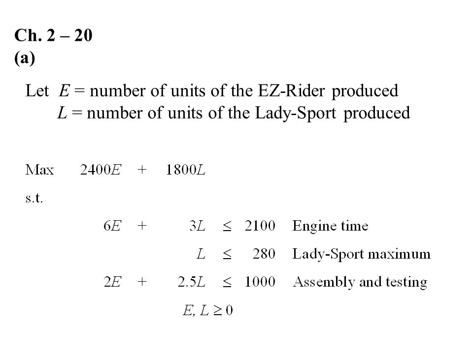 Ch. 2 – 20 (a) Let E = number of units of the EZ-Rider produced.