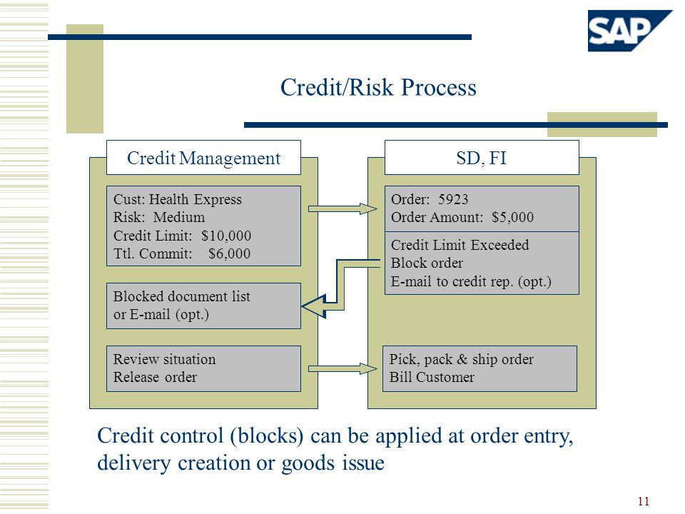 Credit/Risk Process Credit Management. SD, FI. Cust: Health Express. Risk: Medium. Credit Limit: $10,000.