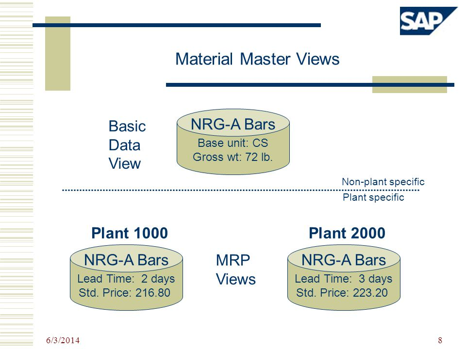 Material Master Views NRG-A Bars Basic Data View Plant 1000 Plant 2000