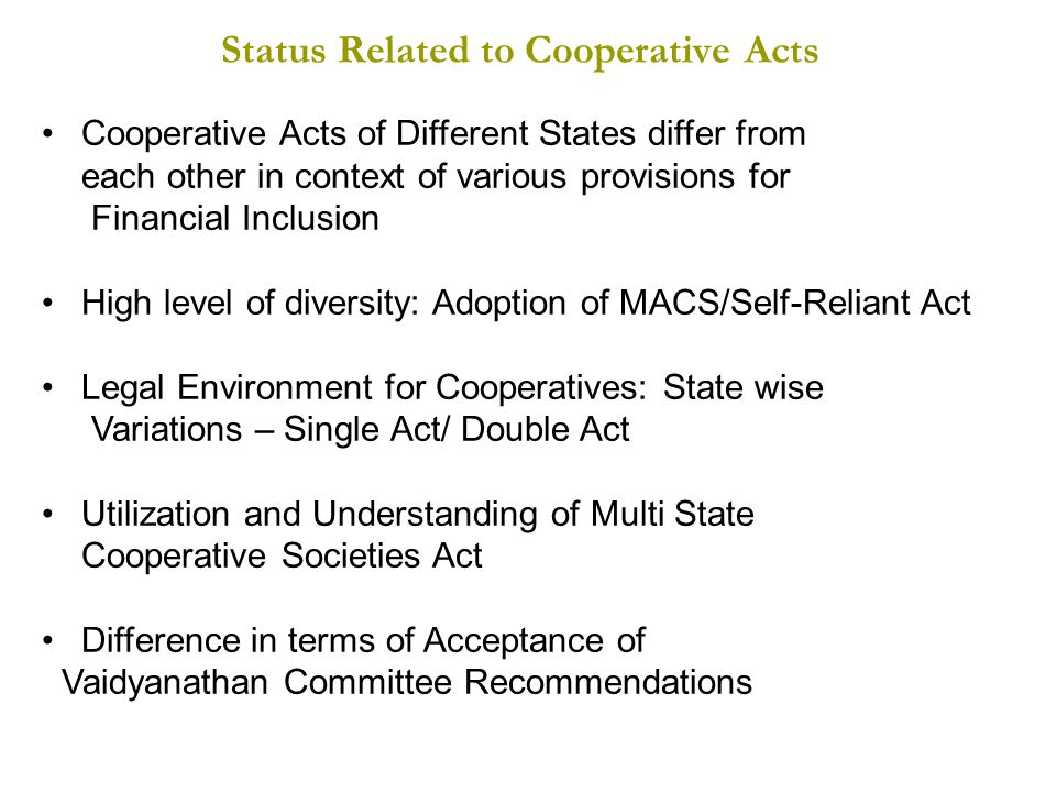 Status Related to Cooperative Acts