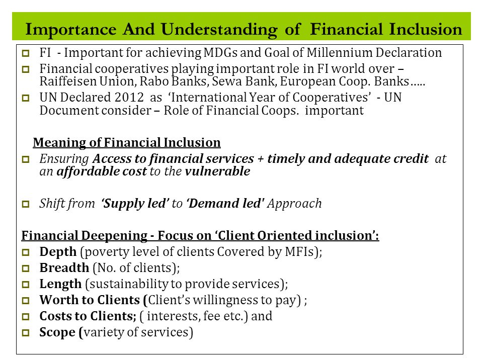 Importance And Understanding of Financial Inclusion