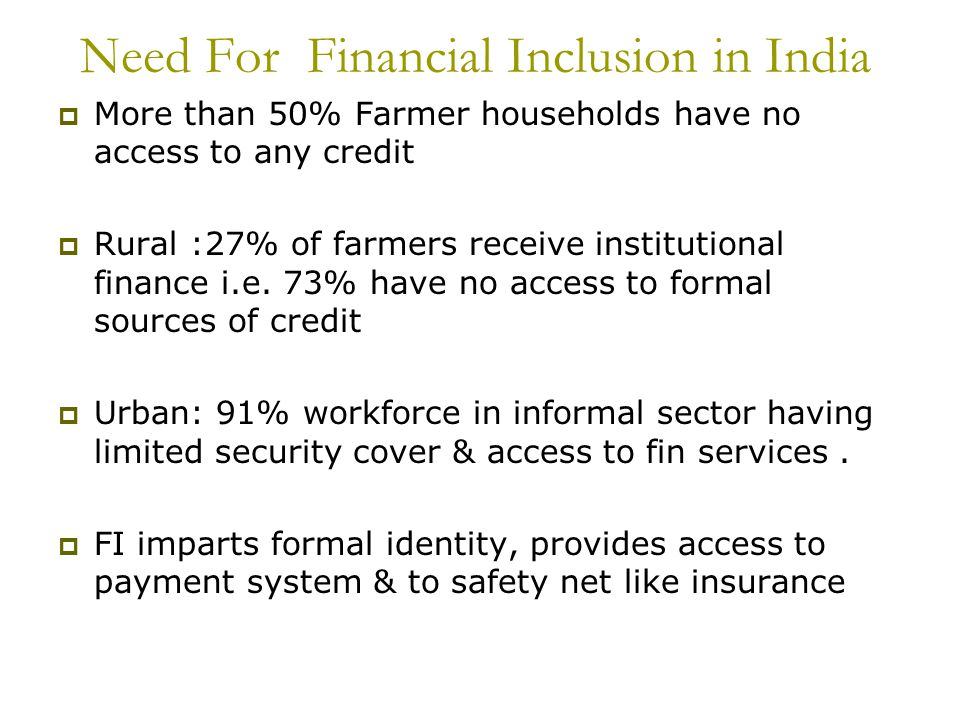 Need For Financial Inclusion in India
