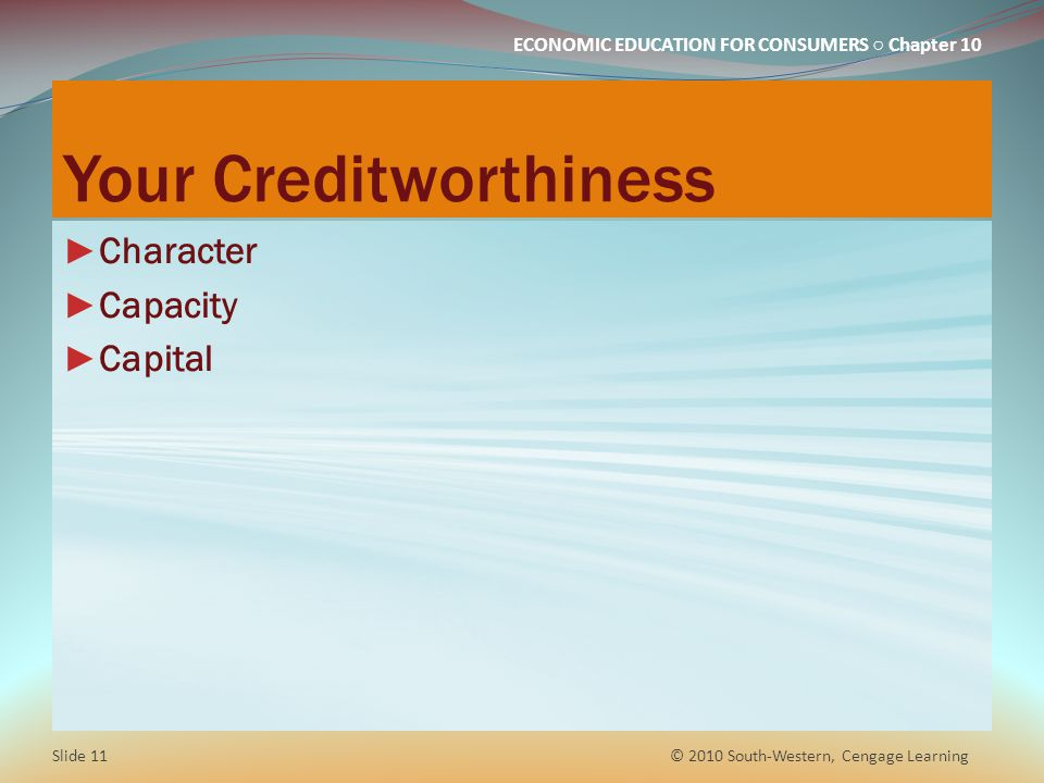 Your Creditworthiness
