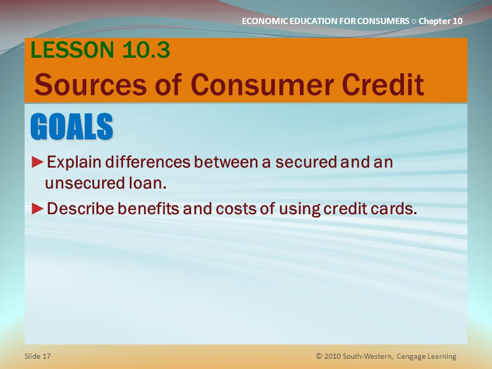 LESSON 10.3 Sources of Consumer Credit