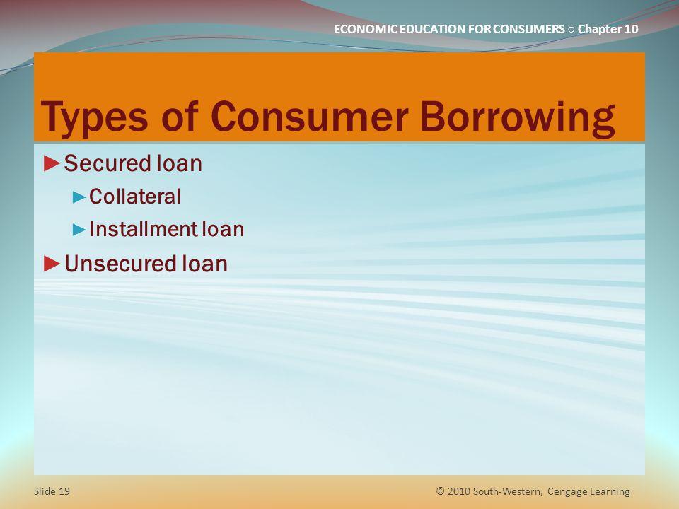 Types of Consumer Borrowing