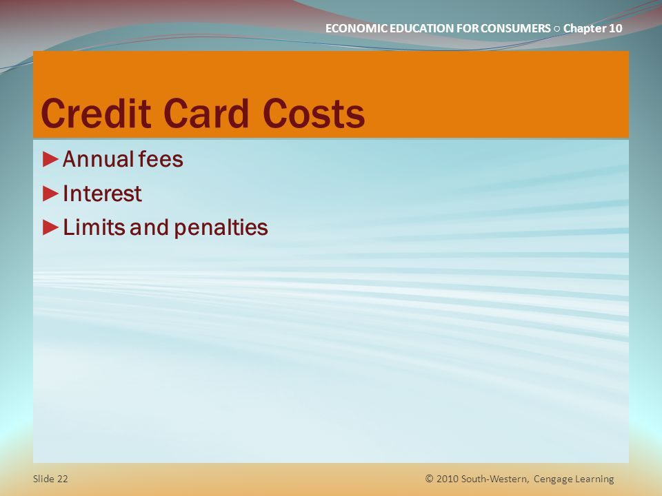 Credit Card Costs Annual fees Interest Limits and penalties