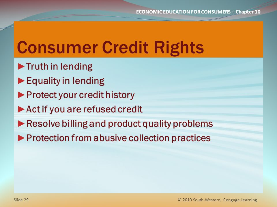 Consumer Credit Rights