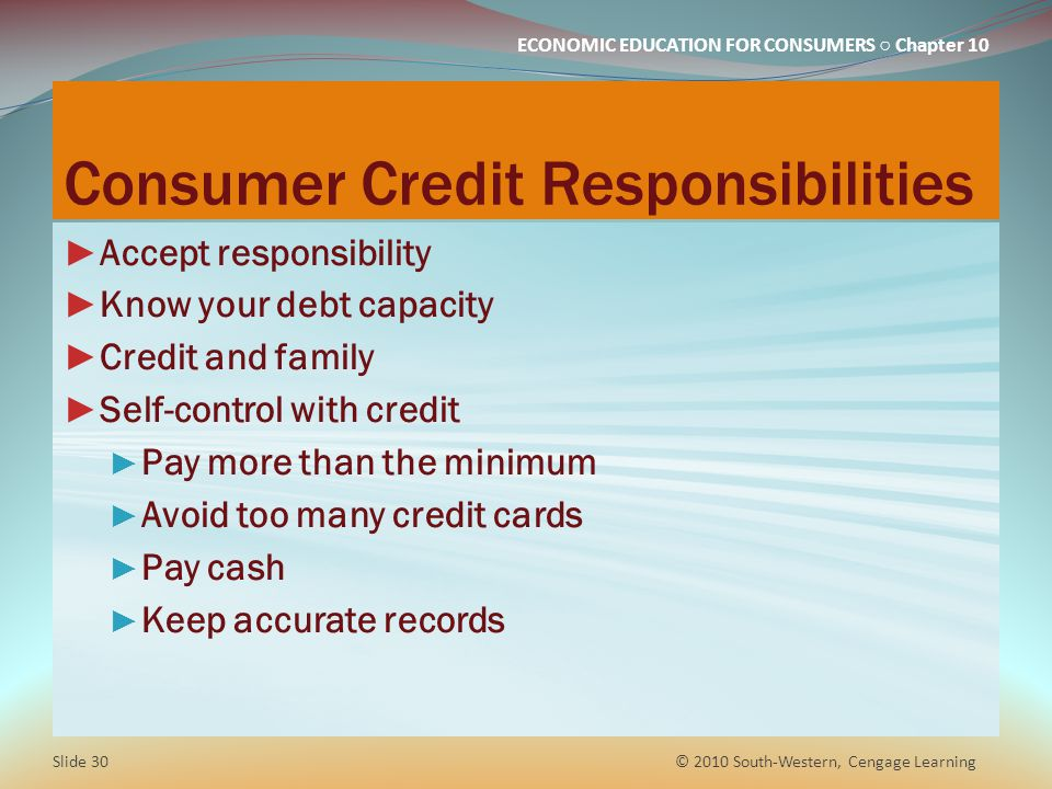 Consumer Credit Responsibilities