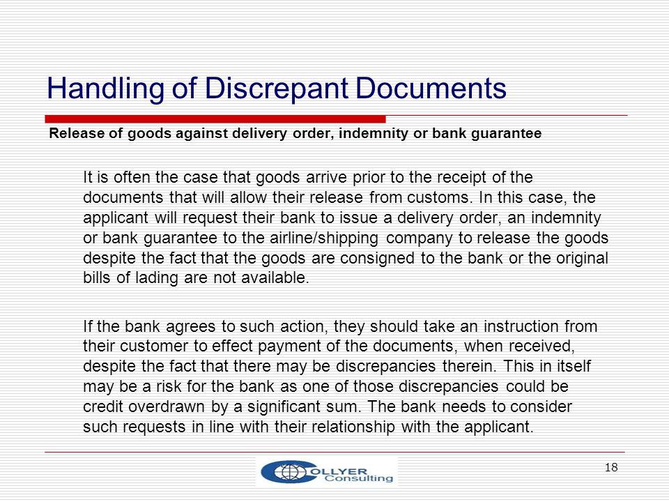 Handling of Discrepant Documents