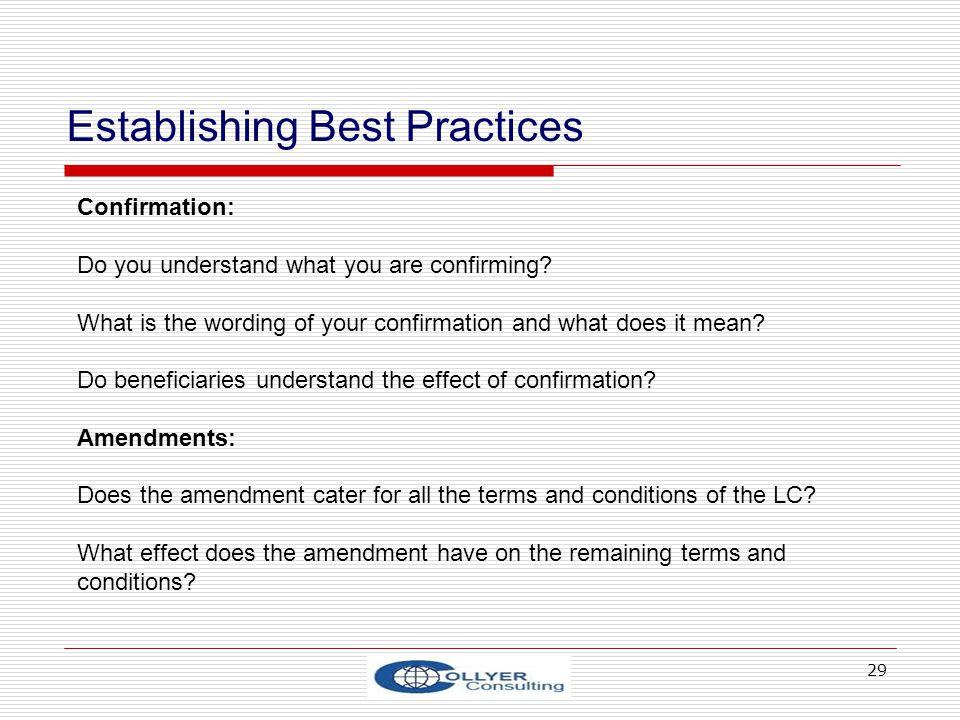 Establishing Best Practices