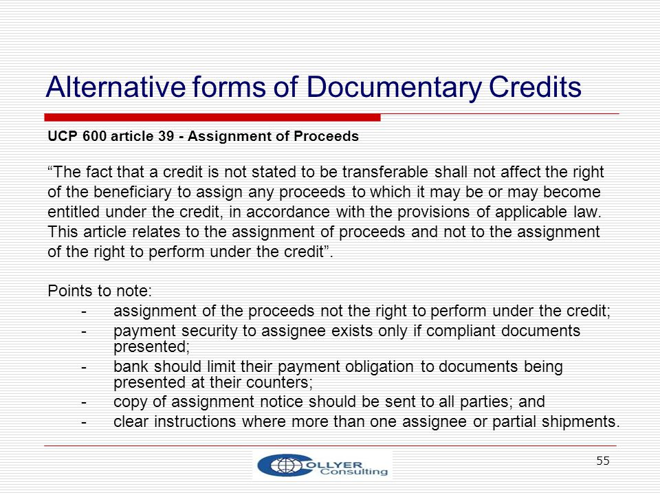 Alternative forms of Documentary Credits