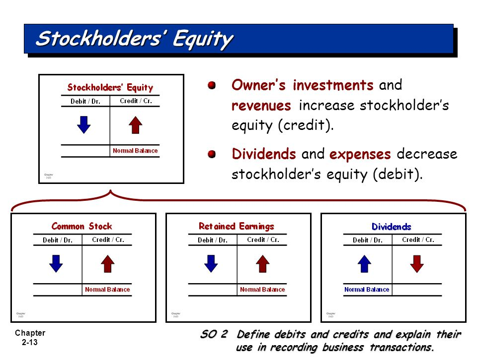 Stockholders' Equity Owner's investments and revenues increase stockholder's equity (credit).