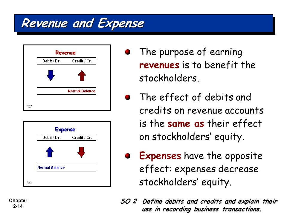Revenue and Expense The purpose of earning revenues is to benefit the stockholders.