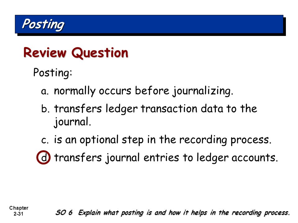 Review Question Posting Posting: normally occurs before journalizing.