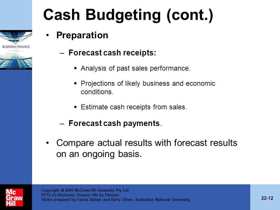 Cash Budgeting (cont.) Preparation