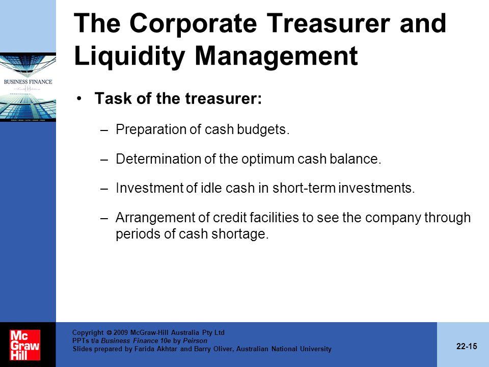 The Corporate Treasurer and Liquidity Management