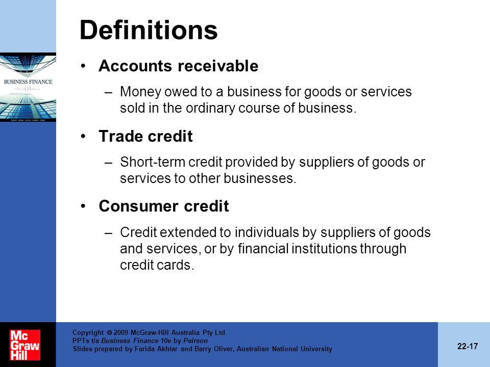 Definitions Accounts receivable Trade credit Consumer credit