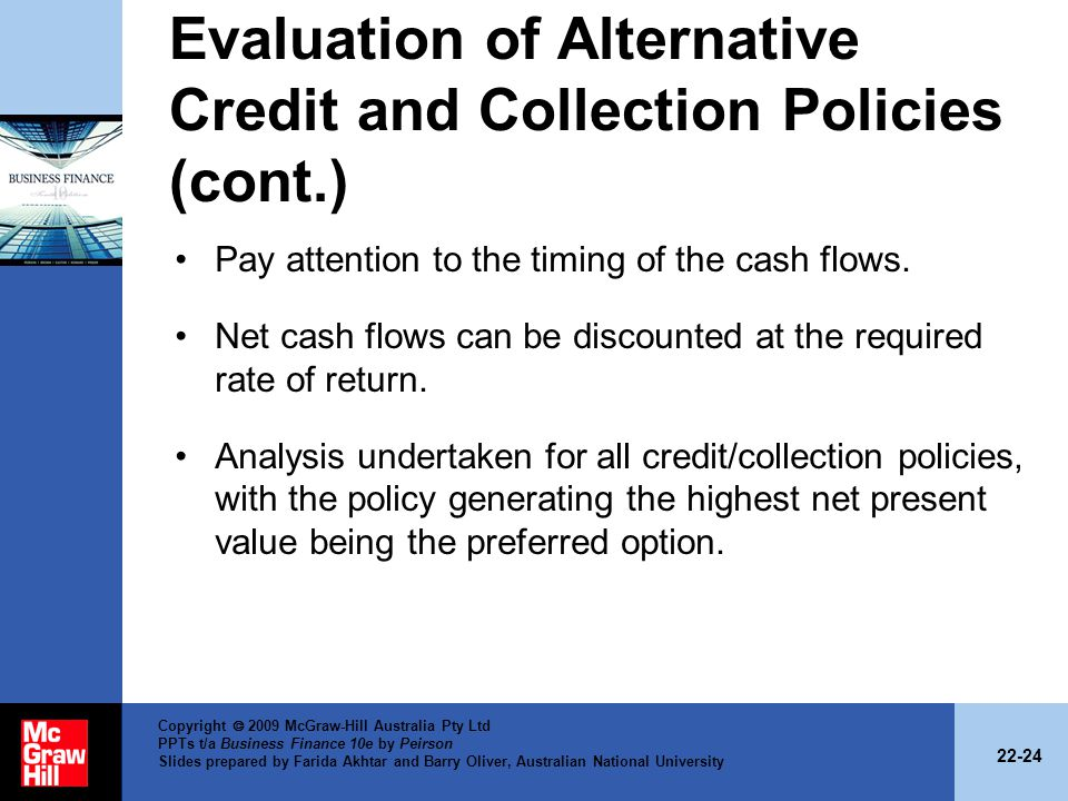 Evaluation of Alternative Credit and Collection Policies (cont.)