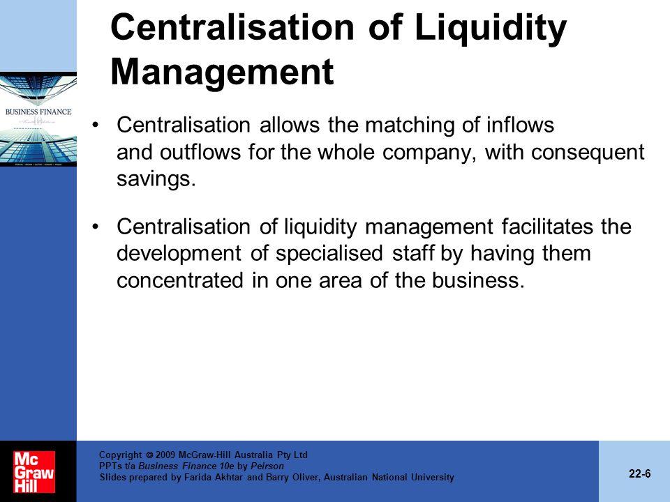 Centralisation of Liquidity Management