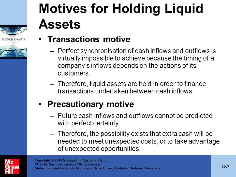 Motives for Holding Liquid Assets