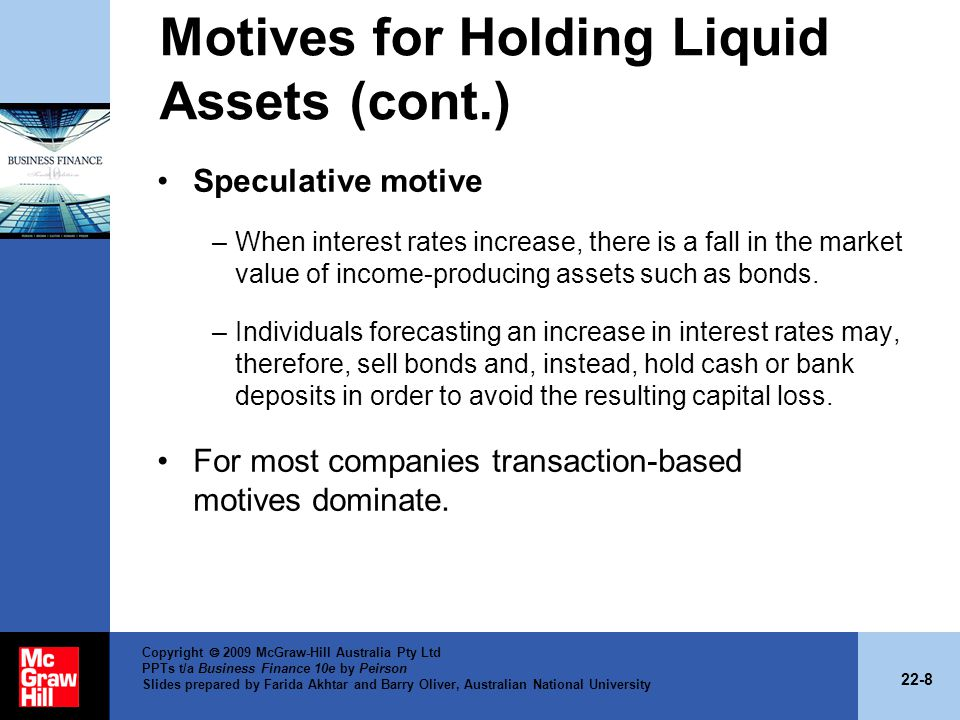 Motives for Holding Liquid Assets (cont.)