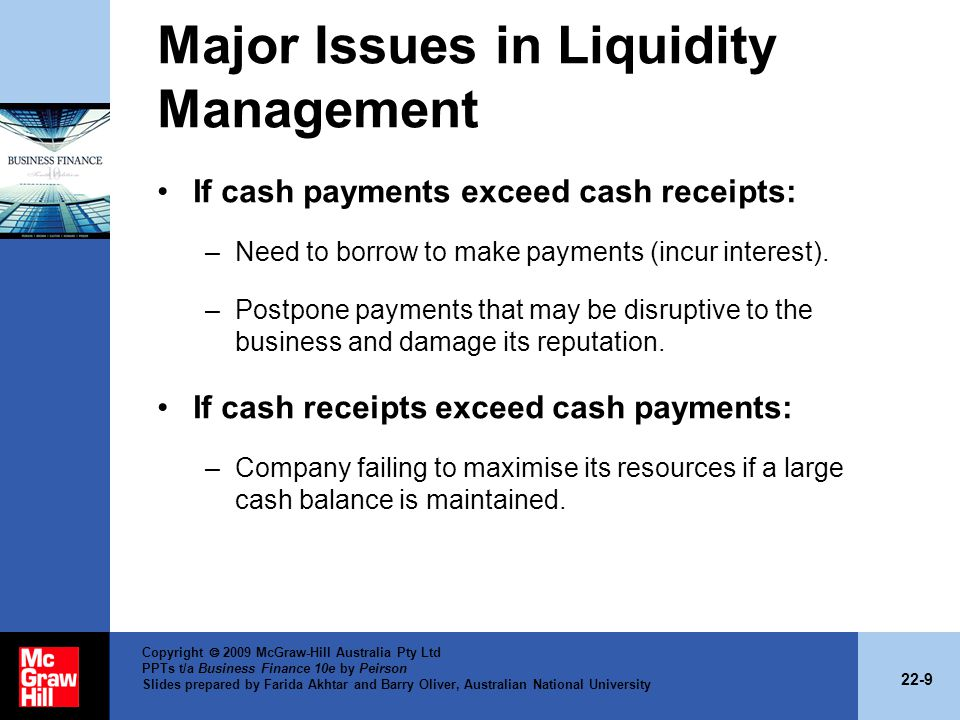 Major Issues in Liquidity Management