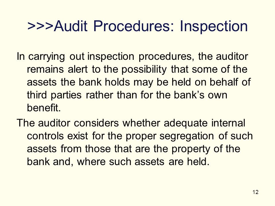 >>>Audit Procedures: Inspection