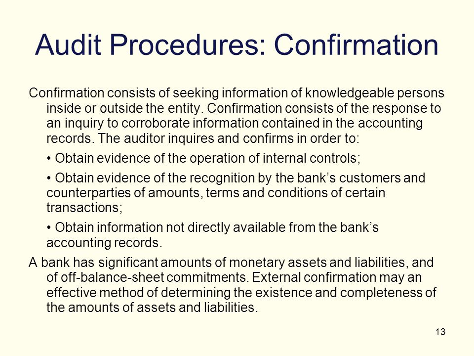 Audit Procedures: Confirmation