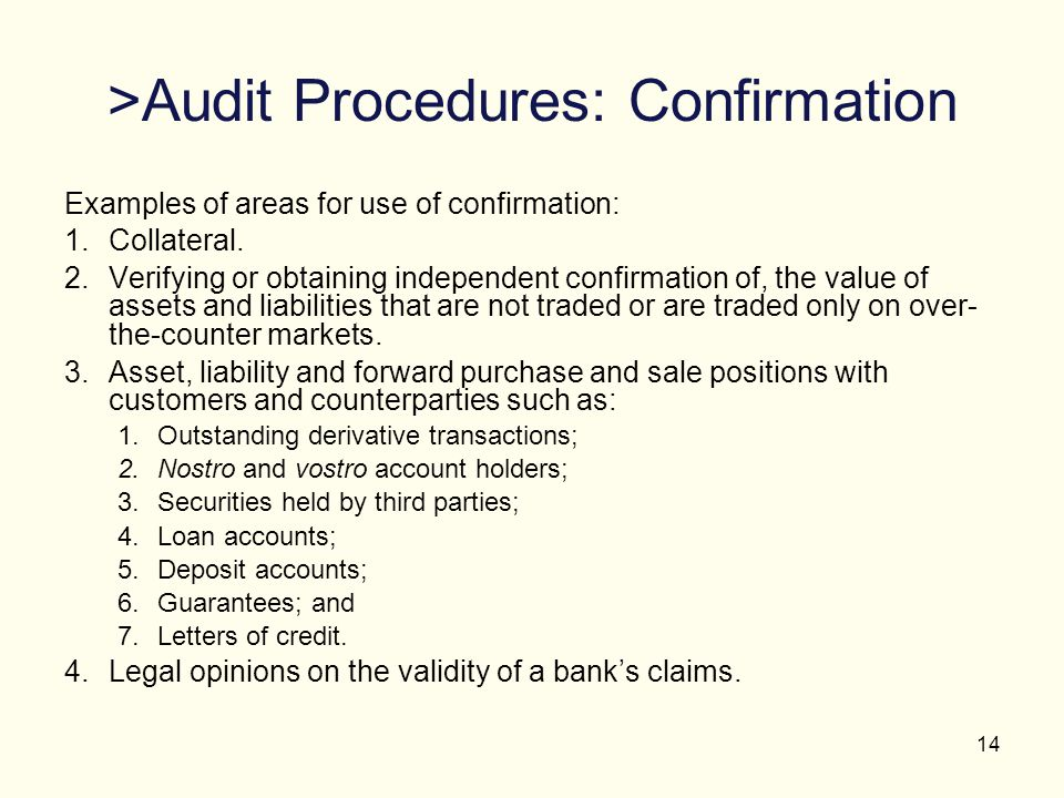 >Audit Procedures: Confirmation