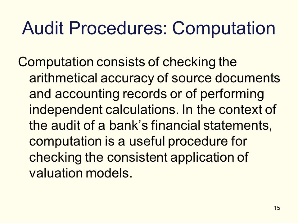 Audit Procedures: Computation